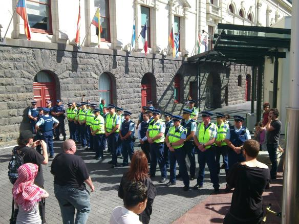 There were squads of cops like this at each corner/entrance to Aotea Square, blatantly attempting to kettle the protesters who had fled to Aotea to escape the violence at Sky City