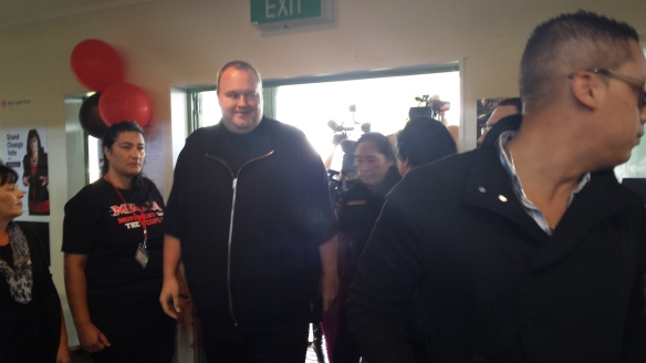 Kim Dotcom enters the meeting