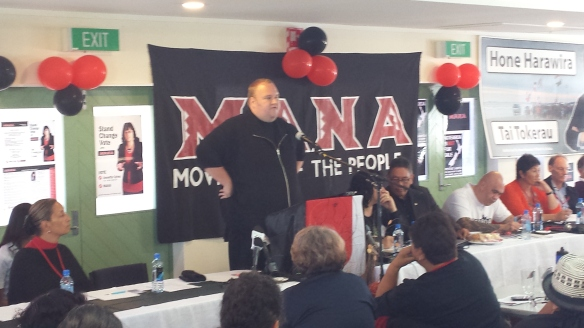 Kim Dotcom speaking at the meeting